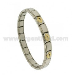 BRACELET STEEL BAND WITH 9 MM 3 APPLICATIONS IN GOLD 750 ‰ FISH