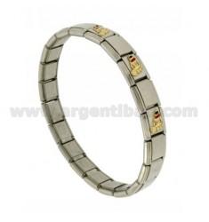 BRACELET Stahlband mit 9 mm 3 FEET ANWENDUNGEN emailliertem Gold 750 ‰