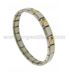 BRACELET STEEL BAND WITH 9 MM 3 FEET APPLICATIONS ENAMELLED GOLD 750 ‰