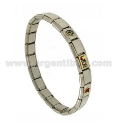 BRACELET STEEL BAND WITH 9 MM 3 APPLICATIONS AND I LOVE YOU @ ENAMELLED GOLD 750 ‰