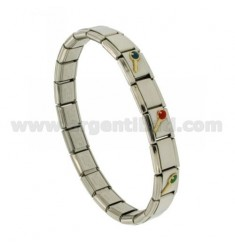 BRACELET STEEL BAND WITH 9 MM 3 APPLICATIONS RACKETS GLAZED GOLD 750 ‰