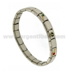 BRACELET STEEL BAND WITH 9 MM 3 APPLICATIONS PEACE SYMBOL IN GOLD 750 ‰