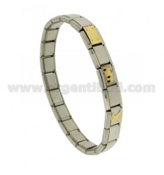 BRACELET STEEL BAND WITH 9 MM 3 APPLICATIONS MAGGIOLINO GOLD 750 ‰