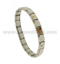 BRACELET STEEL BAND WITH 9 MM 3 APPLICATIONS AMERICAN FLAG GLAZED GOLD 750 ‰