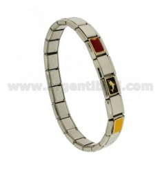 BRACELET STEEL BAND WITH 9 MM 3 APPLICATIONS NAUTICAL FLAGS AND SHARK ENAMELLED GOLD 750 ‰