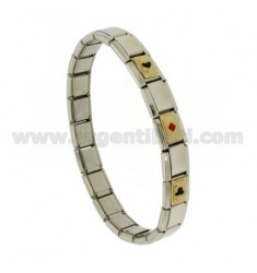 BRACELET STEEL BAND WITH 9 MM 3 APPLICATIONS CARDS FRENCH GLAZED GOLD 750 ‰