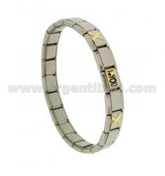 BRACELET Stahlband mit 9 mm 3 ANWENDUNGEN I LOVE YOU GLAZED GOLD 750 ‰