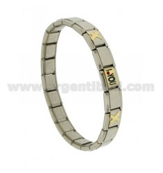 BRACELET STEEL BAND WITH 9 MM 3 APPLICATIONS I LOVE YOU GLAZED GOLD 750 ‰