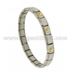 BRACELET STEEL BAND WITH 9 MM 3 APPLICATIONS LUPA GLAZED GOLD 750 ‰