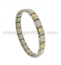 BRACELET STEEL BAND WITH 9 MM 3 APPLICATIONS AQUARIUS GOLD 750 ‰