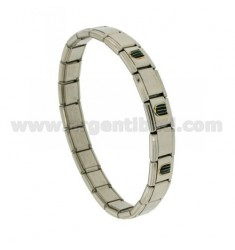 9 MM ELASTIC STEEL BRACELET WITH 3 APPLICATIONS GOLDEN ENAMELED COPPER 750 ‰