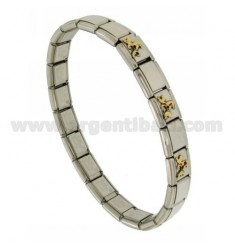 BRACELET STEEL BAND WITH 9 MM 3 APPLICATIONS CAGNOLINI ENAMELLED GOLD 750 ‰