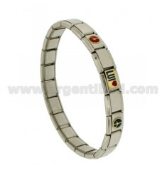BRACELET STEEL BAND WITH 3 MM 9 HE APPLICATIONS GLAZED GOLD 750 ‰