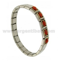 BRACELET STEEL BAND WITH 9 MM 3 APPLICATIONS IN GOLD 750 ‰ CORAL AND POLISH
