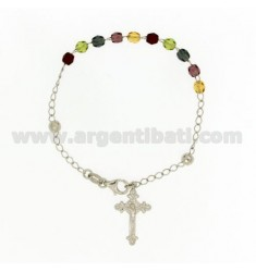 ROSARY BRACELET WITH STONES MULTICOLOURED faceted MM 4.5 X 4.5 CM 20 SILVER RHODIUM 925 ‰