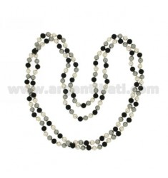 LACE OCEAN PEARL GREY, WHITE AND BLACK AGATE 8 MM CM 160