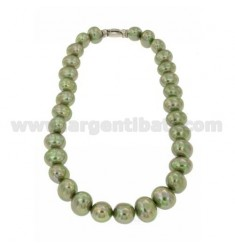 PEARLS NECKLACE OVAL MM 15x13 GREEN 45 CM WITH CLOSURE IN SILVER TIT 925 ‰ AND ZIRCONIA