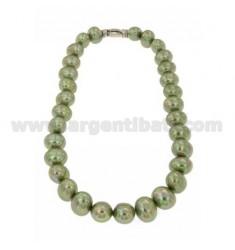 Perlenhalskette OVAL MM 15x13 GREEN 45 cm mit Verschluss SILVER TIT 925 ‰ und Zirkonia