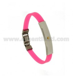 RUBBER BRACELET WITH STEEL PLATE WITH BILAMINE BRASS AND GOLD VITIN