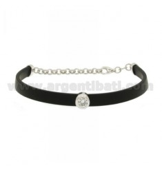 RUBBER BRACELET 6 MM WITH CENTRAL A SOLITAIRE SILVER TIT 925 ‰ AND ZIRCON CM 16-20