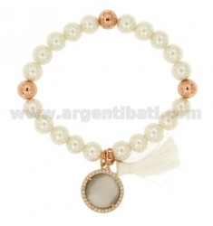 Bangle Bracelet PEARL 8 MM WITH GREY STONE AND METAL ZIRCONIA PINK GOLD PLATED