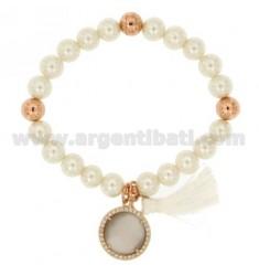 Brazalete pulsera de perlas 8 MM CON GRIS PIEDRA Y METAL ZIRCONIA ROSA DORADO
