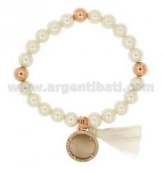 Brazalete pulsera de perlas 8 MM CON PIEDRA DE HUMOS Y circones METAL PLATEADO ORO ROSA