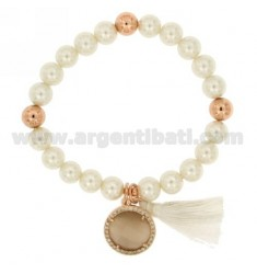 ELASTIC BRACELET OF PEARLS MM 8 WITH SMOKED STONE AND ZIRCONIA IN ROSE GOLD PLATED METAL