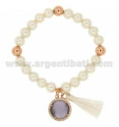 Brazalete pulsera de perlas 8 MM CON PIEDRA Y ZIRCONIA PURPLE Rose plateó METAL