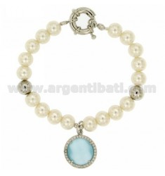 BRACELET PEARL 8 MM WITH STONE AND BLUE ZIRCONIA METAL RHODIUM CM 19