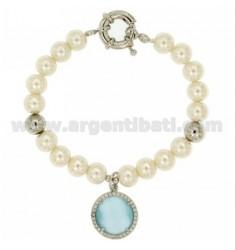 Pulsera de perlas 8 MM CON PIEDRA Y AZUL ZIRCONIA METAL RODIO CM 19