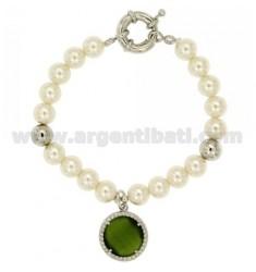 Pulsera de perlas 8 MM CON PIEDRA Y ZIRCONIA VERDE METAL RODIO CM 19