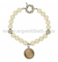 PEARL BRACELET 8 MM WITH SMOKED STONE AND ZIRCONIA IN RHODIUM-PLATED METAL 19 CM