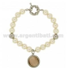 Pulsera de perlas 8 MM CON PIEDRA DE HUMOS Y circones METAL RODIO CM 19