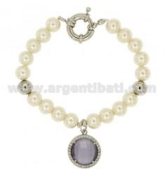 Armband Perle 8 MM mit Stein und ZIRCONIA Lila Metall RHODIUM CM 19