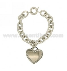 BRACELET WITH METAL AND CRYSTAL HEART