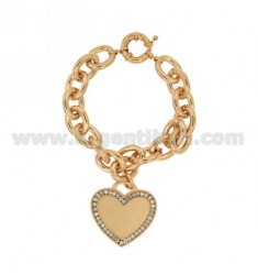 METAL COPPER BRACELET WITH HEART AND CRYSTAL