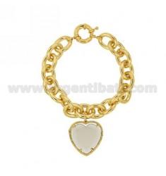 BRACELET GOLDEN METAL HEART WITH GREY