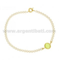 NECKLACE 45 CM PEARL 8 MM WITH STONE ASSORTED COLORS GOLDEN METAL