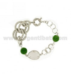 BRACELET METAL STONE GRAY AND GREEN