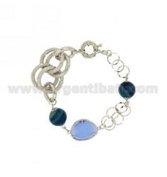 METAL BRACELET WITH STONES AND BLUE CELESTE