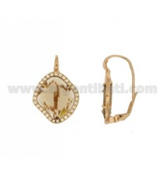 MONACHELLA EARRINGS WITH SMOKED HYDROTHERMAL STONE SHAPED RHOMBUS EDGED WITH ZIRCONIA IN SILVER PLATED ROSE GOLD TIT 925
