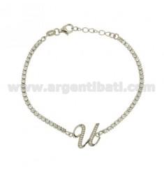 Tennis Armband mit Schreiben U Silber Rhodium TIT 925 ‰ 17.20 CM