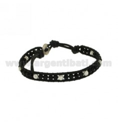 Tessito BRACELET WITH CRYSTAL BALLS AND RESIN Rhinestone EDGED IN LEATHER AND CLOSING BUTTON SILVER TIT 925