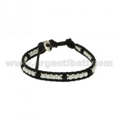 Tessito BRACELET WITH BEADS AND BALLS WITH CRYSTAL RESIN EDGED IN LEATHER AND CLOSING BUTTON SILVER TIT 925