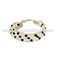 BRACELET WITH CRYSTAL tessito EDGED IN LEATHER AND CLOSING BUTTON SILVER TIT 925