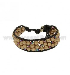 BRACELET tessito PEARL AND CRYSTAL WITH LEATHER AND EDGES CLOSE BUTTON SILVER TIT 925