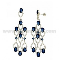 68X23 MM EARRINGS SILVER RHODIUM TIT 925 ‰ AND ZIRCONIA WHITE AND BLUE