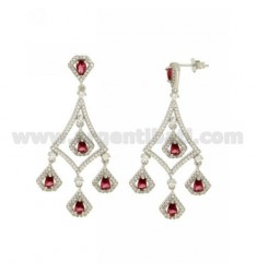 68X23 MM EARRINGS SILVER RHODIUM TIT 925 ‰ AND RED AND WHITE ZIRCONIA