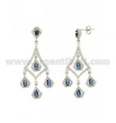 68X23 MM Ohrringe Silber RHODIUM TIT 925 ‰ und Zirkonia weiß und blau